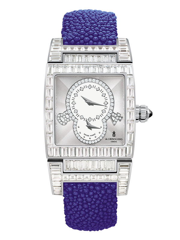 Часы Dual Time White Gold Baguette Diamonds
