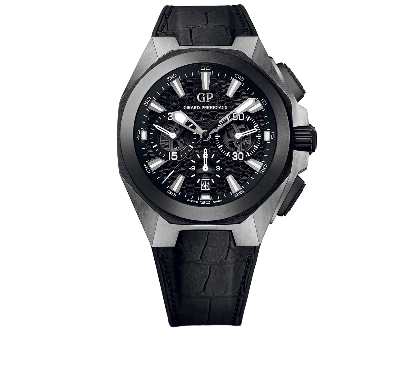 Часы Titanium Ceramic Black Chrono GIRARD-PERREGAUX Sea Hawk 49971-37-631-BB6A - фото 1 – Mercury