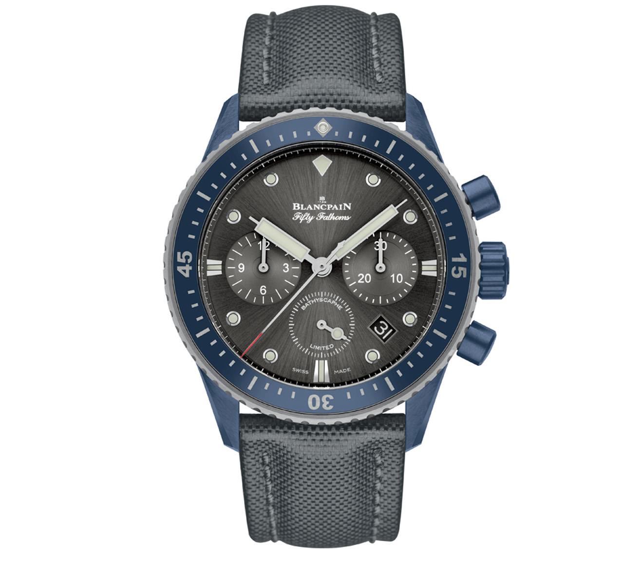 Часы Bathyscaphe Chronographe Flyback Ocean Commitment Blancpain Fifty Fathoms 5200 0310 G52 A - фото 1 – Mercury