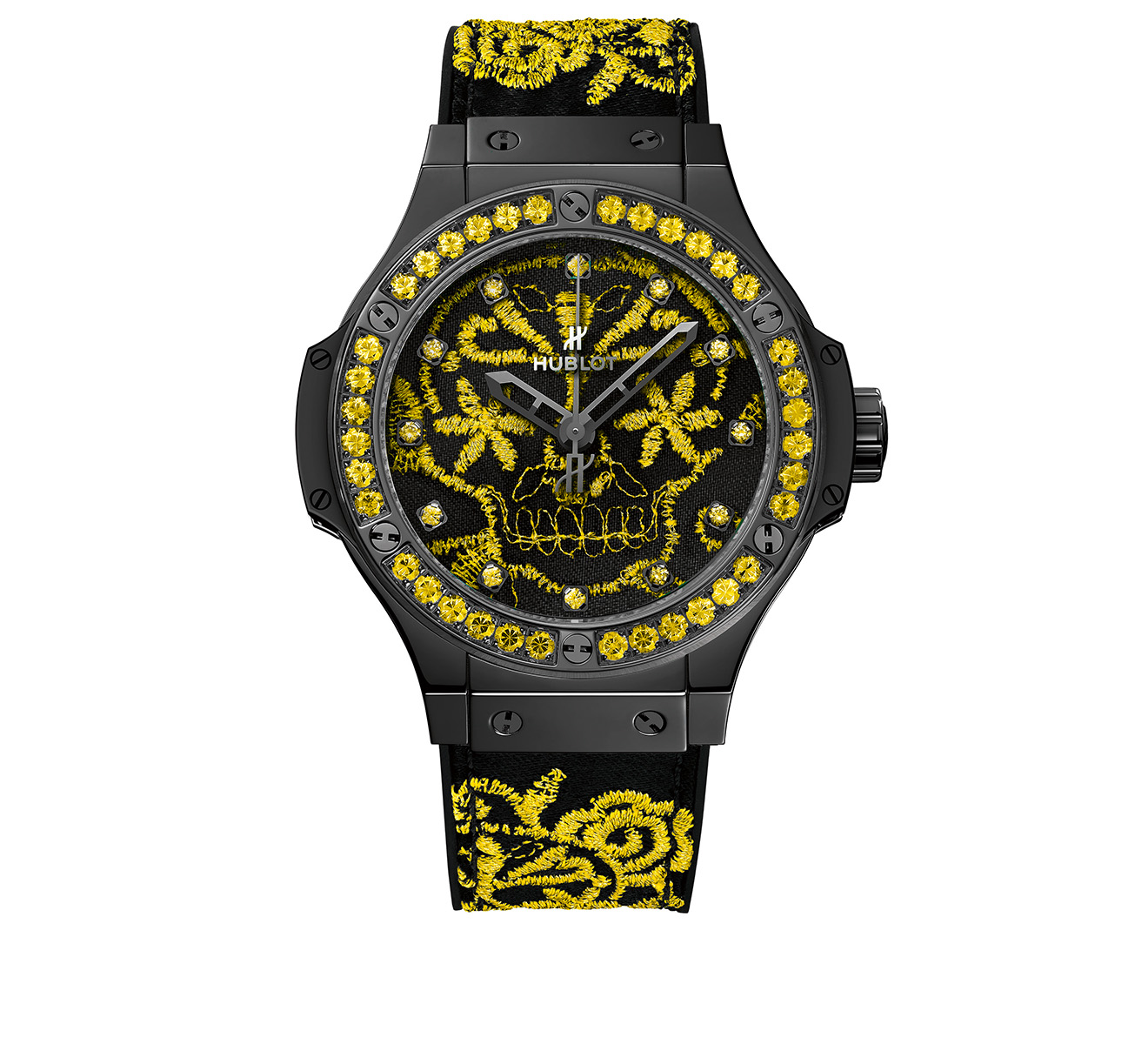 Часы Broderie Sugar Skull Fluo Sunpower HUBLOT Big Bang 343.CY.6590.NR.1211 - фото 1 – Mercury