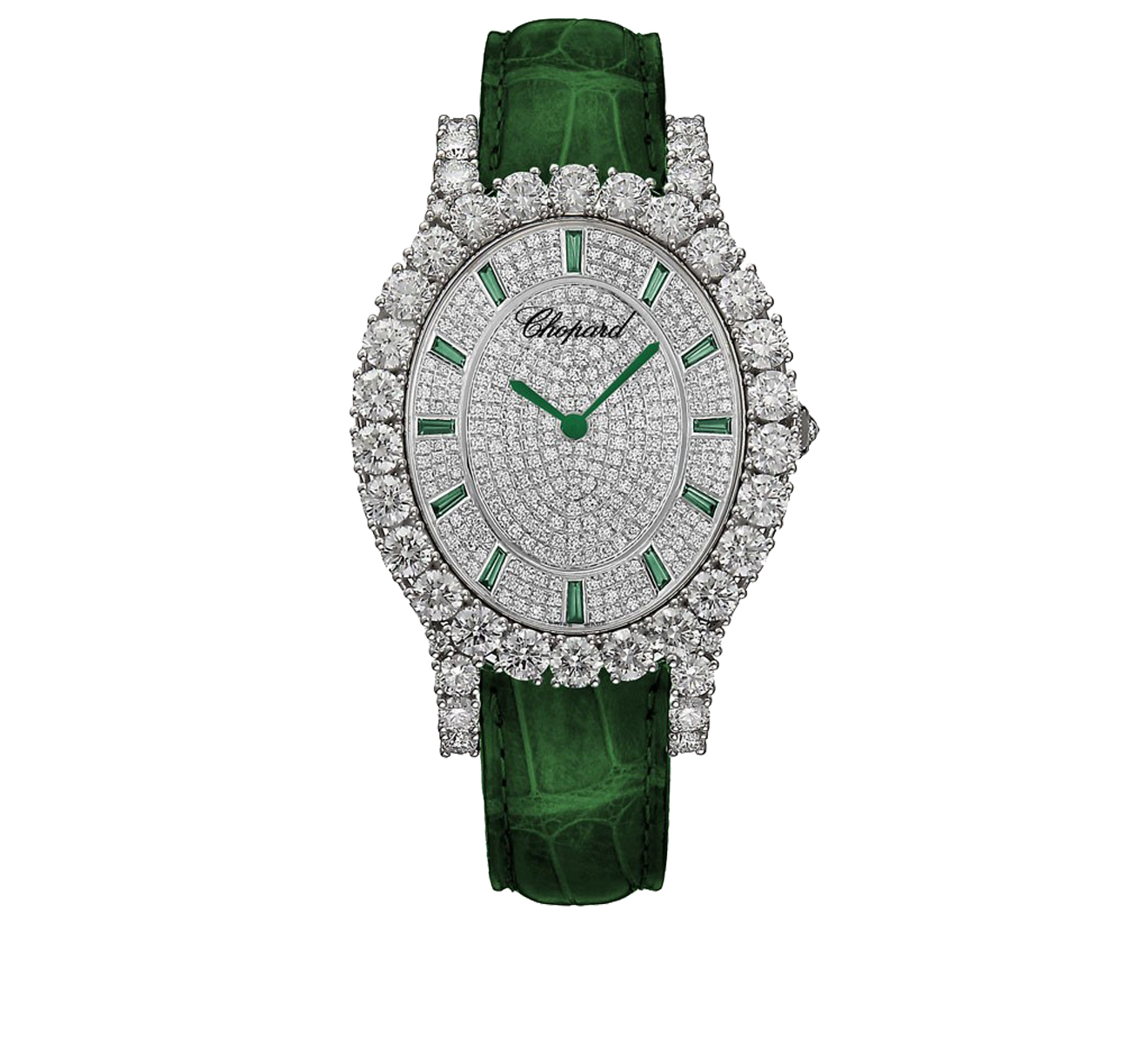 Часы White Gold Pave Green Chopard L'Heure du Diamant 139383-1033 - фото 1 – Mercury