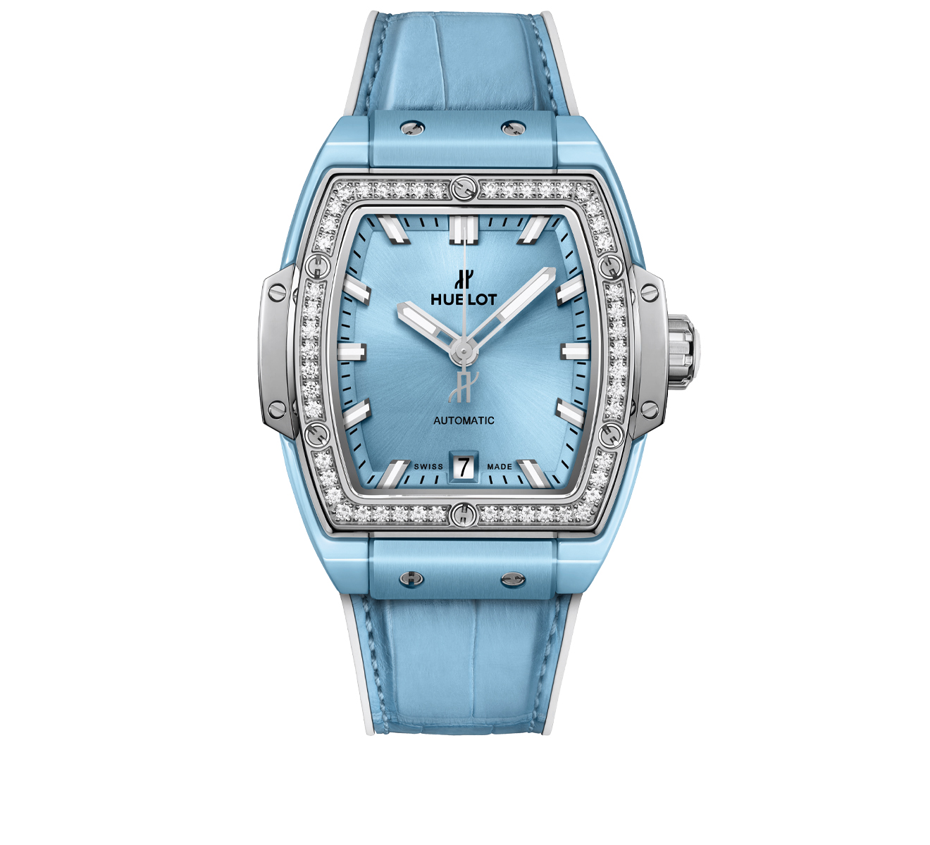 Часы Light Blue Ceramic Titanium Diamonds HUBLOT Spirit of Big Bang 665.EN.891L.LR.1204 - фото 1 – Mercury