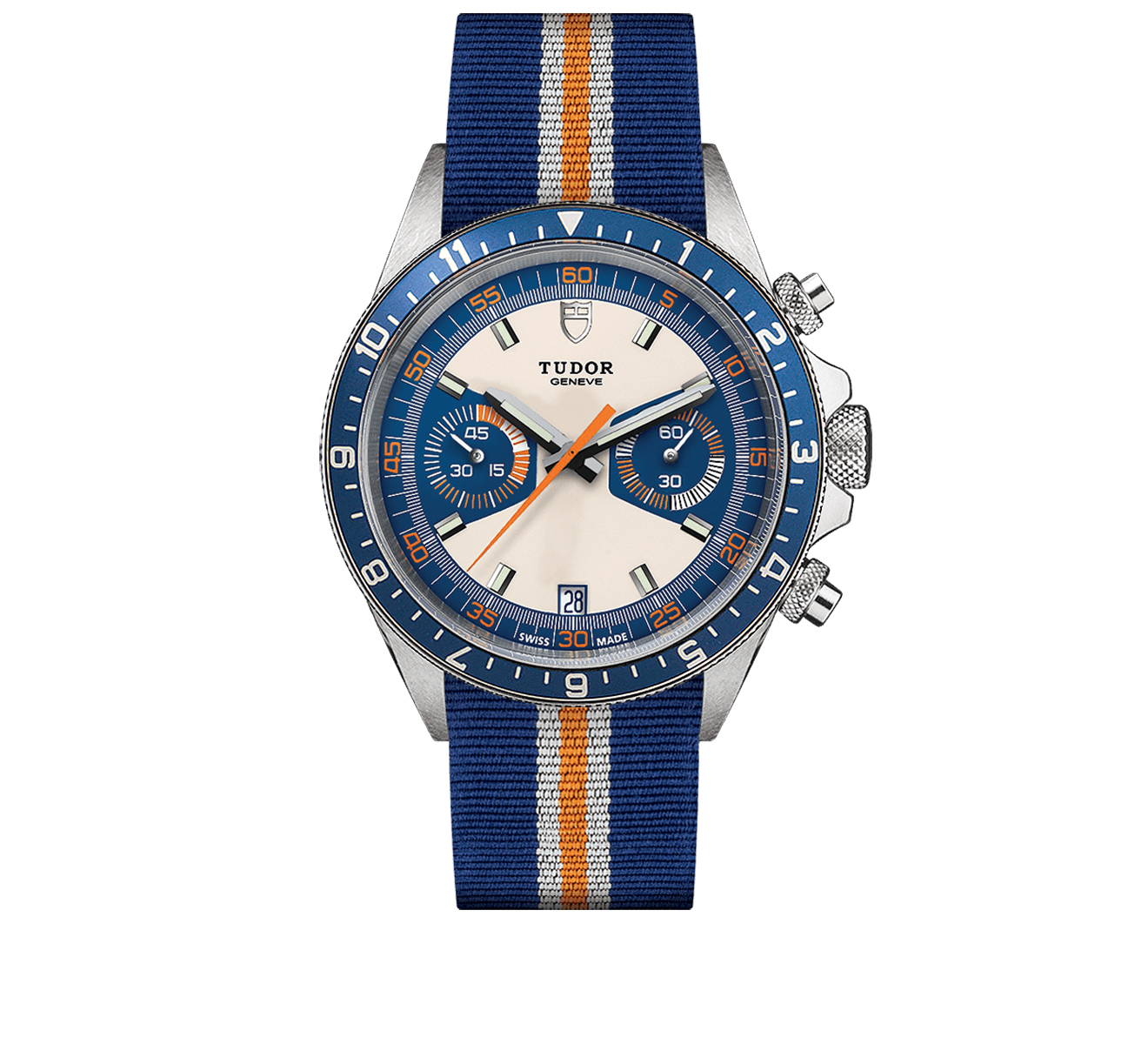 Часы Chrono Blue Tudor Tudor Heritage 70330B/BLUE FABRIC WHITE AND ORANGE/OPALINE BLUE - фото 1 – Mercury